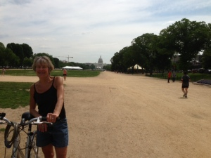 Hannah on the National Mall with the Capitol in the distance