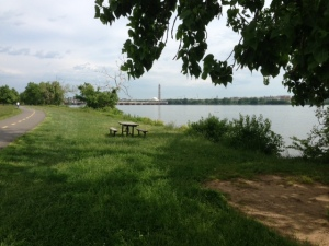 Potomac Bike Path with the Washington Monument in the distance