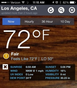 Noontime temperature in the City of Angels