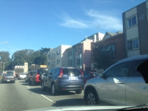 In traffic on 19th Avenue in San Francisco