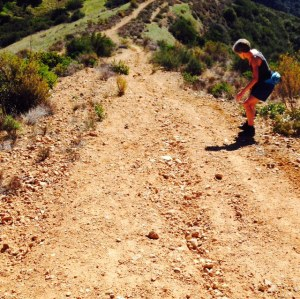 Side saddling it down the summit mesa