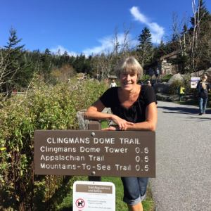 At the base of the sidewalk to the Clingman's Dome Tower